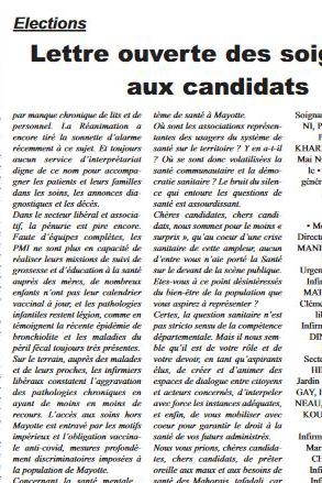 Elections : Lettre ouverte des soignantsaux candidats