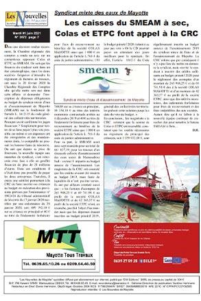 Syndicat mixte des eaux de Mayotte: Les caisses du SMEAM à sec, Colas et ETPC font appel à la CRC